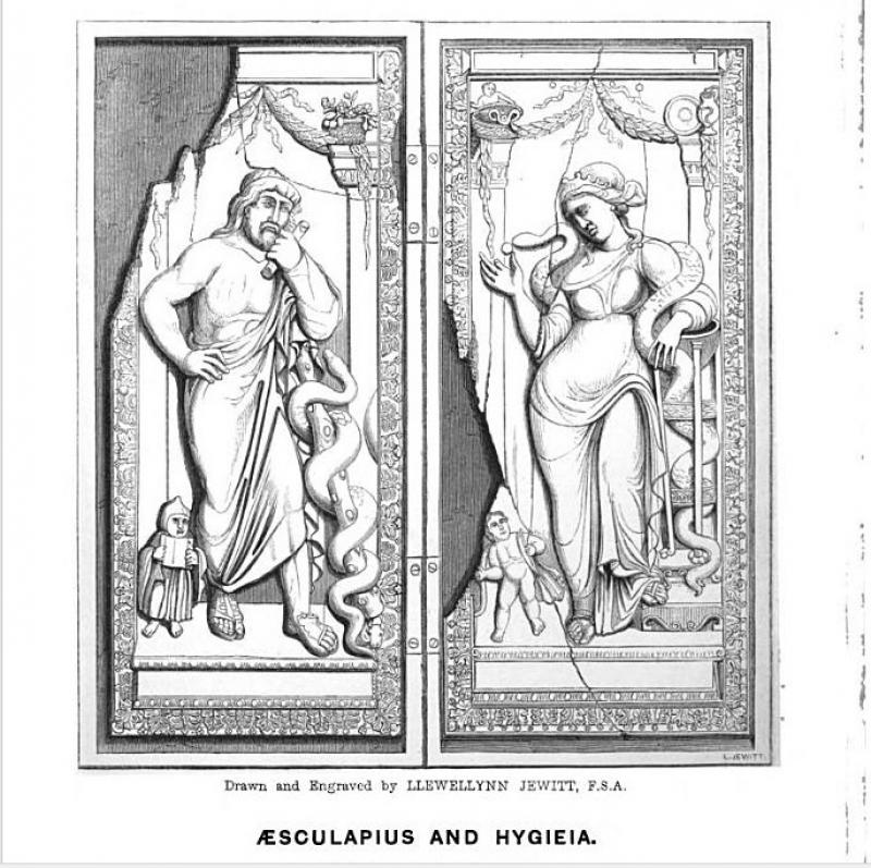 Asklépios és Hygieia diptichon / Asclepius and Hygieia diptych. In: Catalogue of the Fejérváry Ivories, in the Museum of Joseph Mayer Esq. F. S. A… etc., preceded by an Essay on Antique Ivories by Francis Pulszky. Liverpool, 1856. Magyar Tudományos Akadémia Könyvtár és Információs Központ / Library and Information Centre of the Hungarian Academy of Sciences