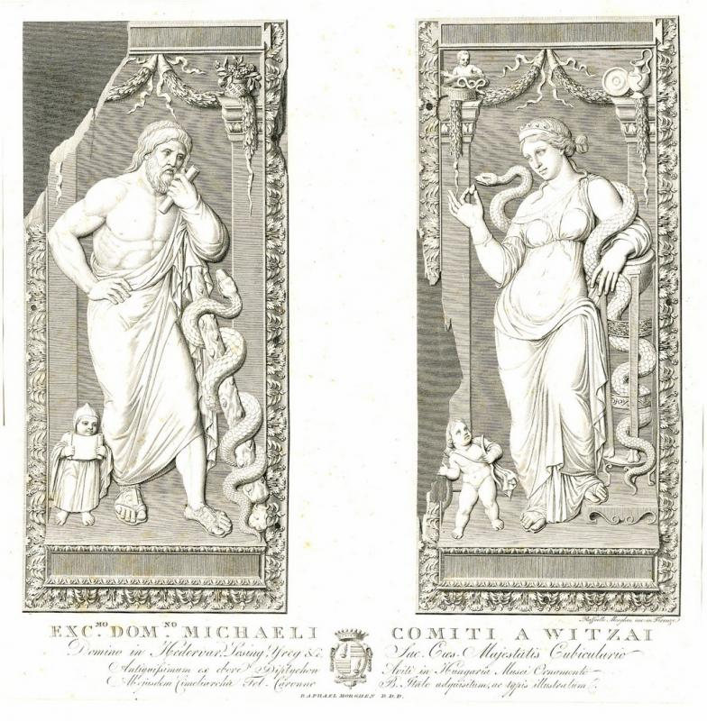 Raffaello Sanzio Morghen: Asklépios és Hygieia diptichon. Rézmetszet. 1805. Szépművészeti Múzeum, Grafikai Gyűjtemény / Raffaello Sanzio Morghen: Asclepius and Hygieia diptych. Engraving. 1805. / Museum of Fine Arts, Prints and Drawings.