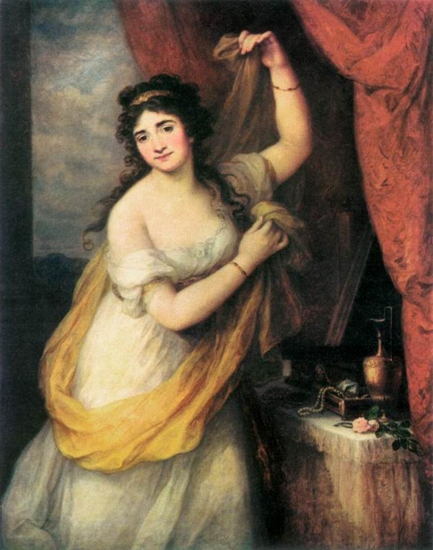 Angelica Kauffmann: Lady Smith (?) öltözködés közben Vénuszként. Olajfestmény. 1795. Szépművészeti Múzeum. Reprodukció / Angelica Kauffmann: Lady Smith (?) as Venus. Oil painting. 1795. Museum of Fine Arts. Reproduction