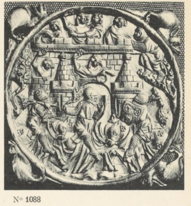 Tükörfoglalat. Mirror case.  In: Raymond Koechlin: Les ivoires gothiques francais. Paris, 1924, CLXXXV. tábla, no. 1088 / Plate CLXXXV. No. 1088. Szépművészeti Múzeum, Könyvtár / Museum of Fine Arts, Library