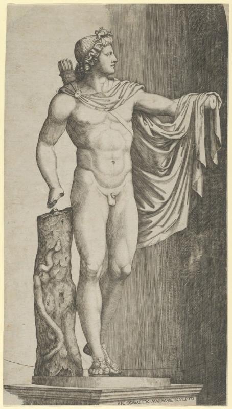 1. Marcantonio Raimondi: A Belvederei Apollón. Rézmetszet. 1527 körül. Szépművészeti Múzeum, Grafikai Gyűjtemény / Marcantonio Raimondi: Apollo Belvedere. Engraving. Around 1527. Museum of Fine Arts, Prints and Drawings