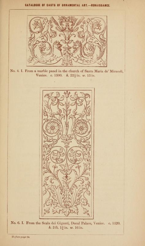 Reneszánsz ornamentális minta / Renaissance ornamental pattern. In: Nicholson Wornum: Catalogue of ornamental casts in the possession of the Department, Third Division: the Renaissance styles by Great Britain. Dept. of Science and Art. London, 1854. Reprodukció / Reproduction