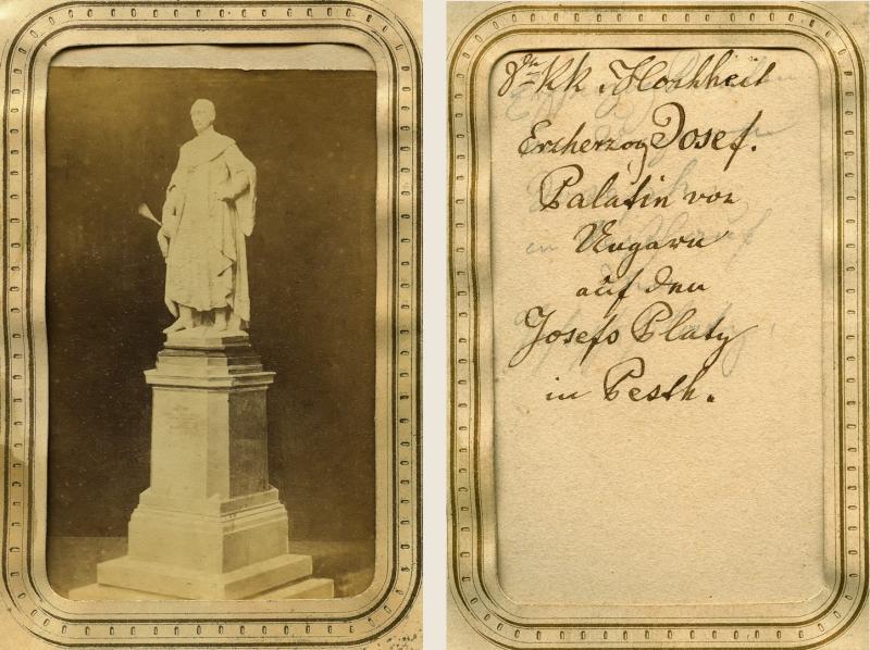 József nádor szobrának makettje. Fénykép. 1850-es évek. Magántulajdon / Scale-modell of Palatin Joseph's statue. Photograph. 1850s. Private property